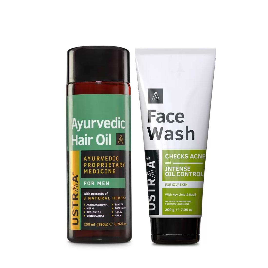 Ustraa | Ustraa Ayurvedic Hair Oil 200 ml and Face Wash Oily Skin 200 g