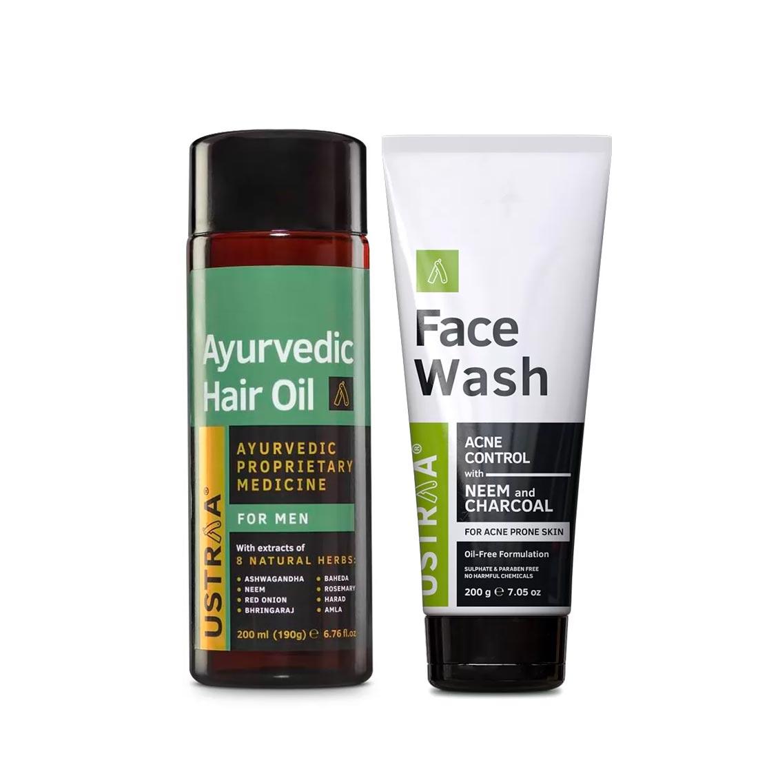 Ustraa | Ustraa Ayurvedic Hair Oil 200 ml and Face Wash (Neem & Charcoal) 200g