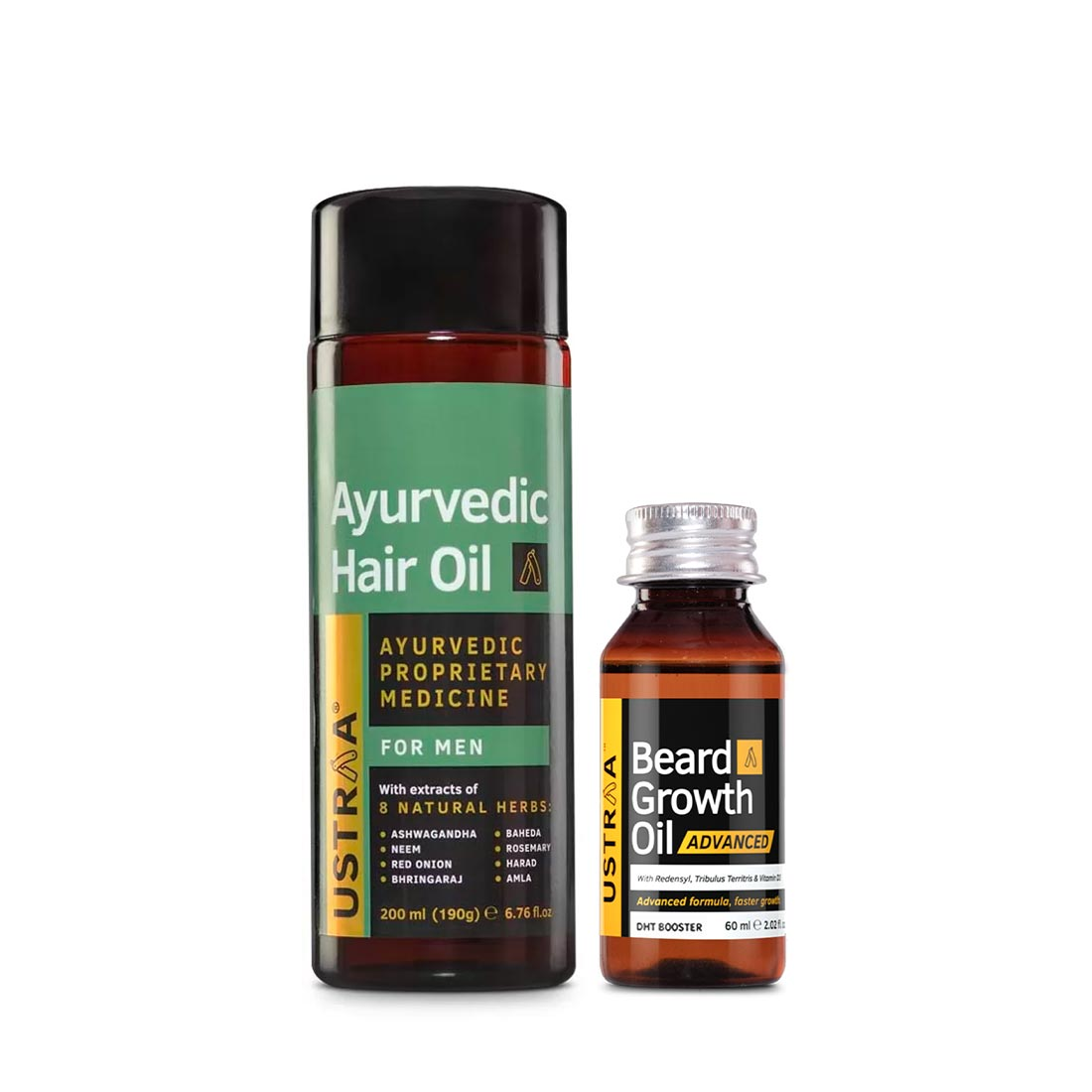 Ustraa | Ustraa Ayurvedic Hair Oil 200 ml and Beard Growth Oil Advanced 60 ml