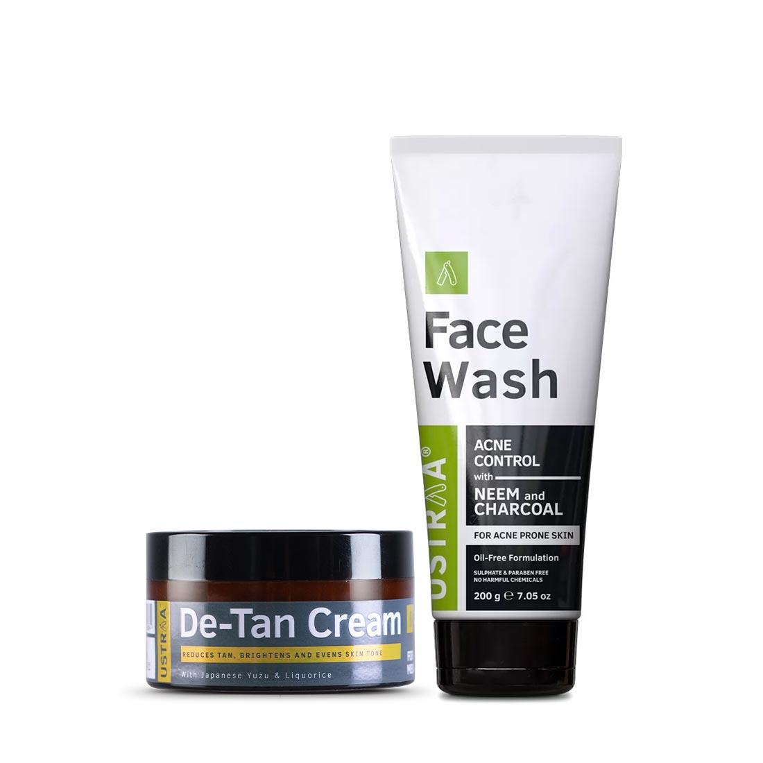 Ustraa | Ustraa De tan Cream 50 g and Face Wash (Neem & Charcoal) 200g