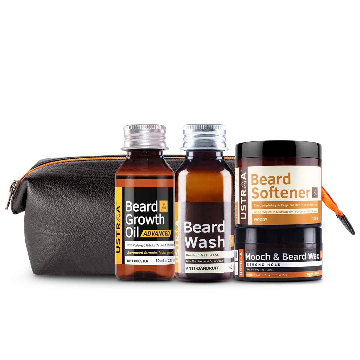 Ustraa | Ustraa Beard Growth oil Advanced60 ml, Anti Dandruff Beard Wash 60 ml, Mooch and Beard Wax 50 g, Beard Softener 100 g & PU kit Bag