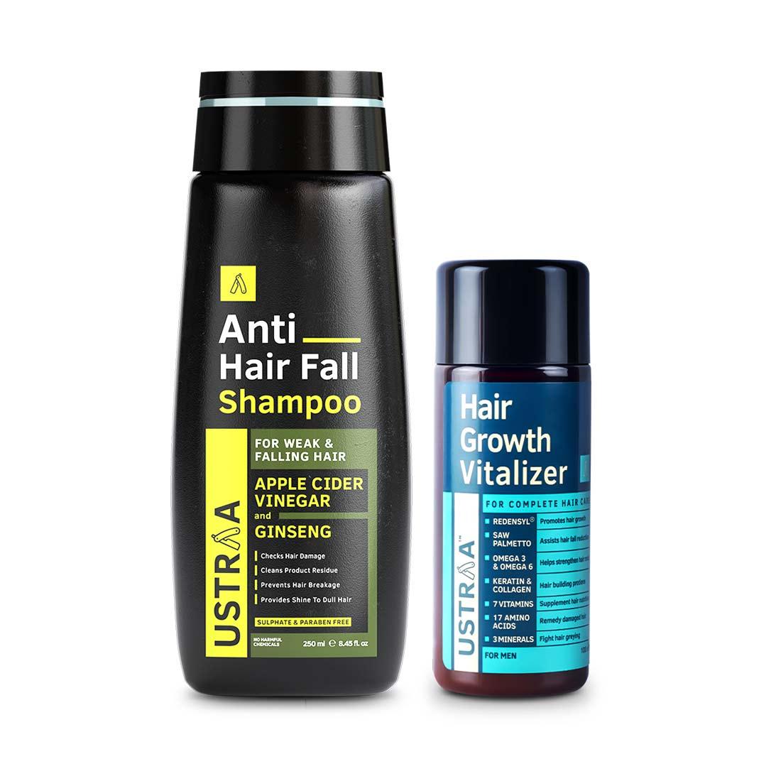 Ustraa | Ustraa Anti hair fall shampoo 250 ml & Hair Growth Vitalizer 100 ml