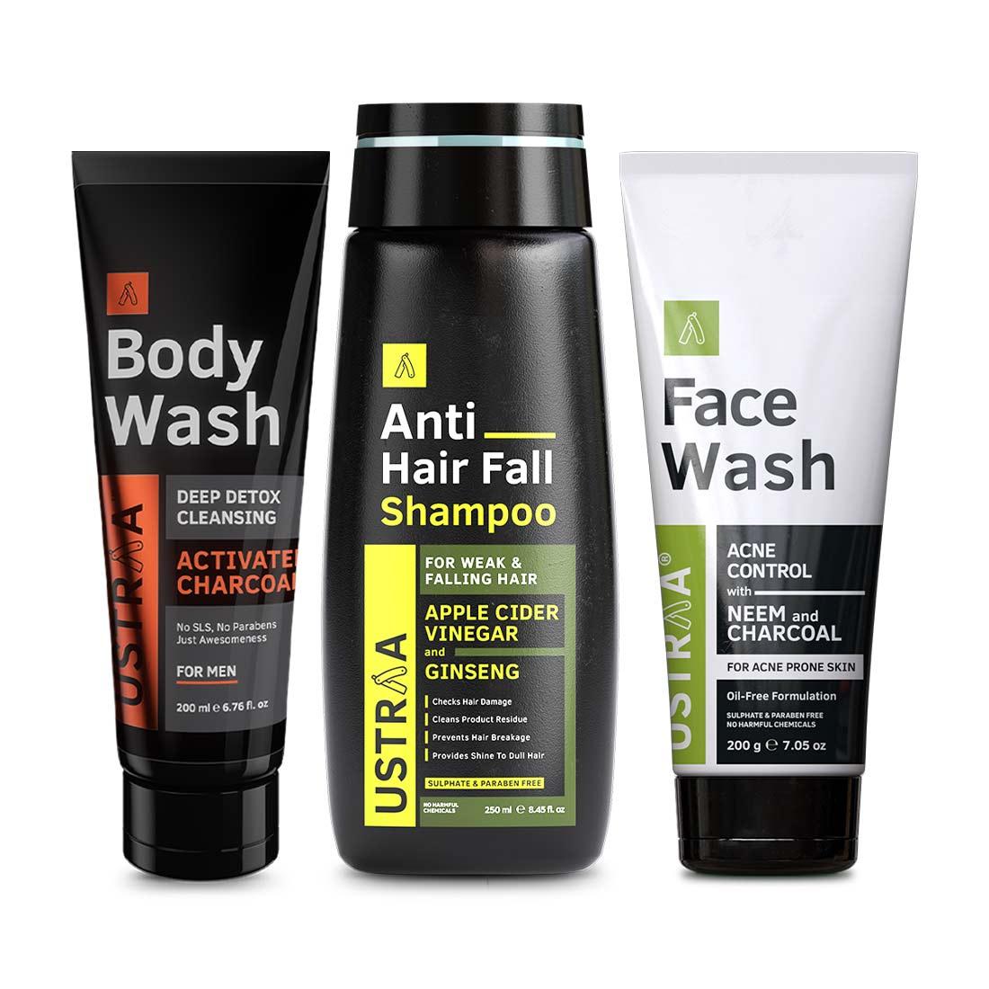 Ustraa | Ustraa Face Wash Neem & Charcoal 200 g, Body Wash - Activated Charcoal 200 ml & Anti Hair Fall Shampoo 250 g