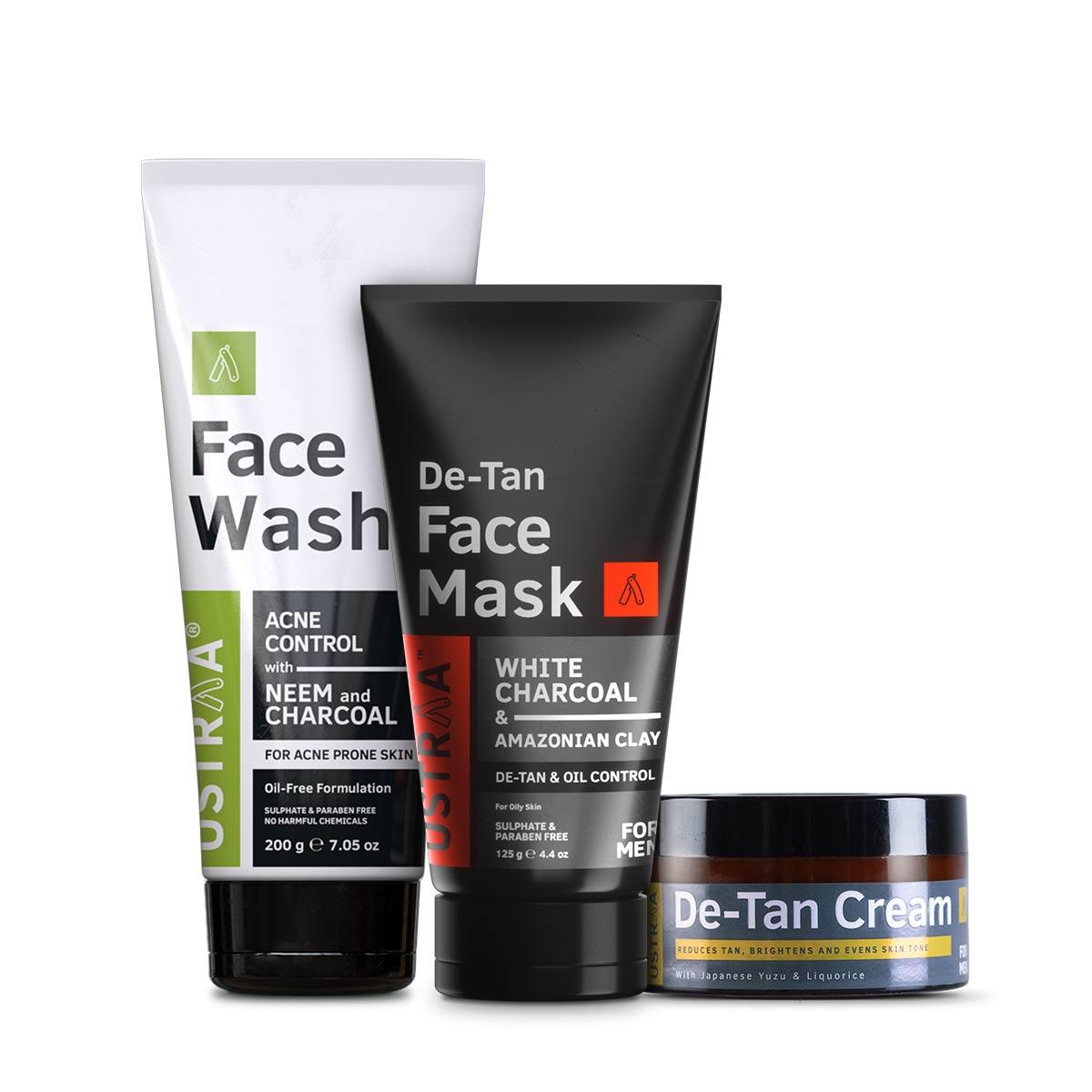 Ustraa | Ustraa Face Wash- Neem & Charcoal 200 g , De Tan Cream 50 g & Face Mask Oily Skin 125 g