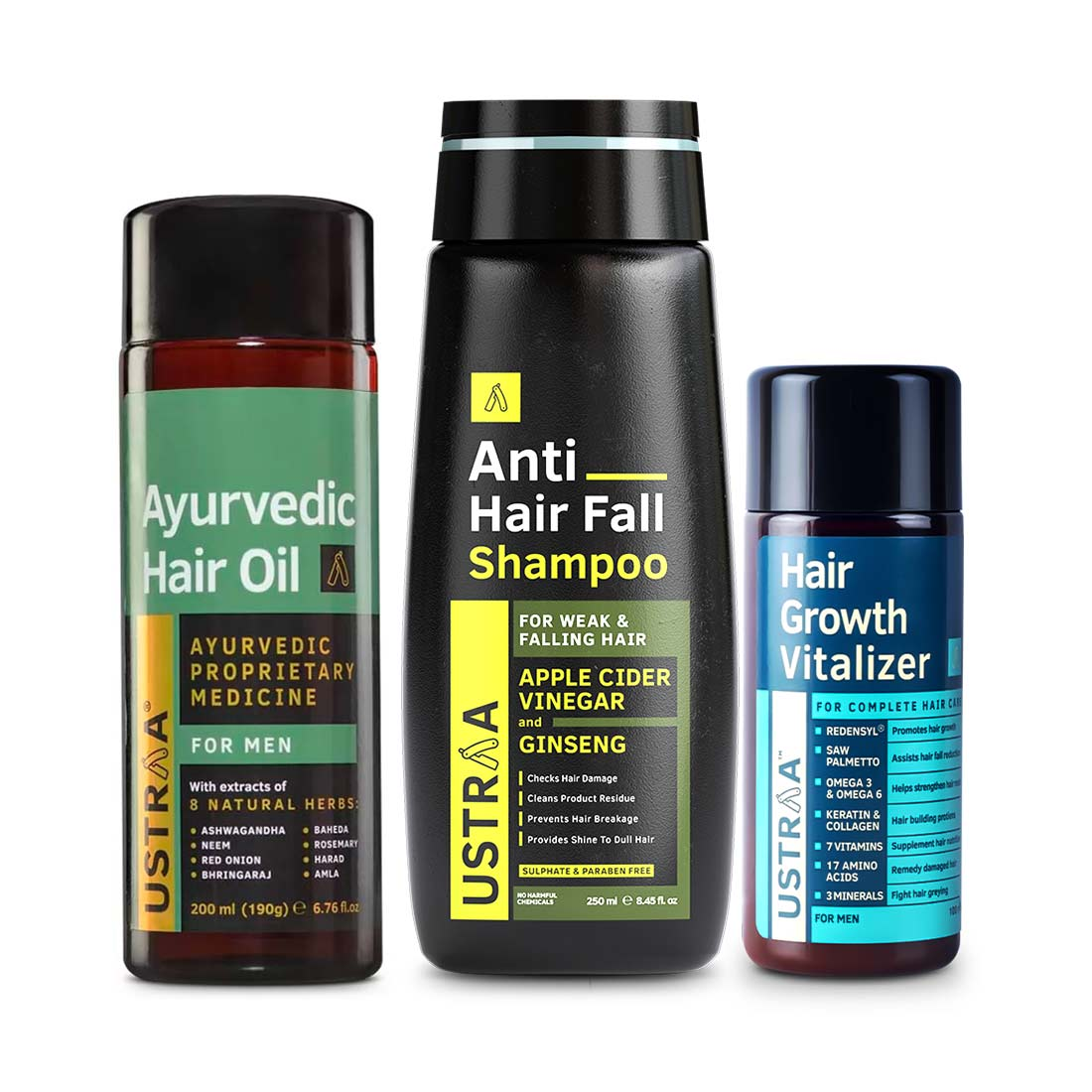 Ustraa | Ustraa Hair Growth Vitalizer 100 ml, Anti hair fall Shampoo 250 ml  & Ayurvedic Hair Oil 200 ml