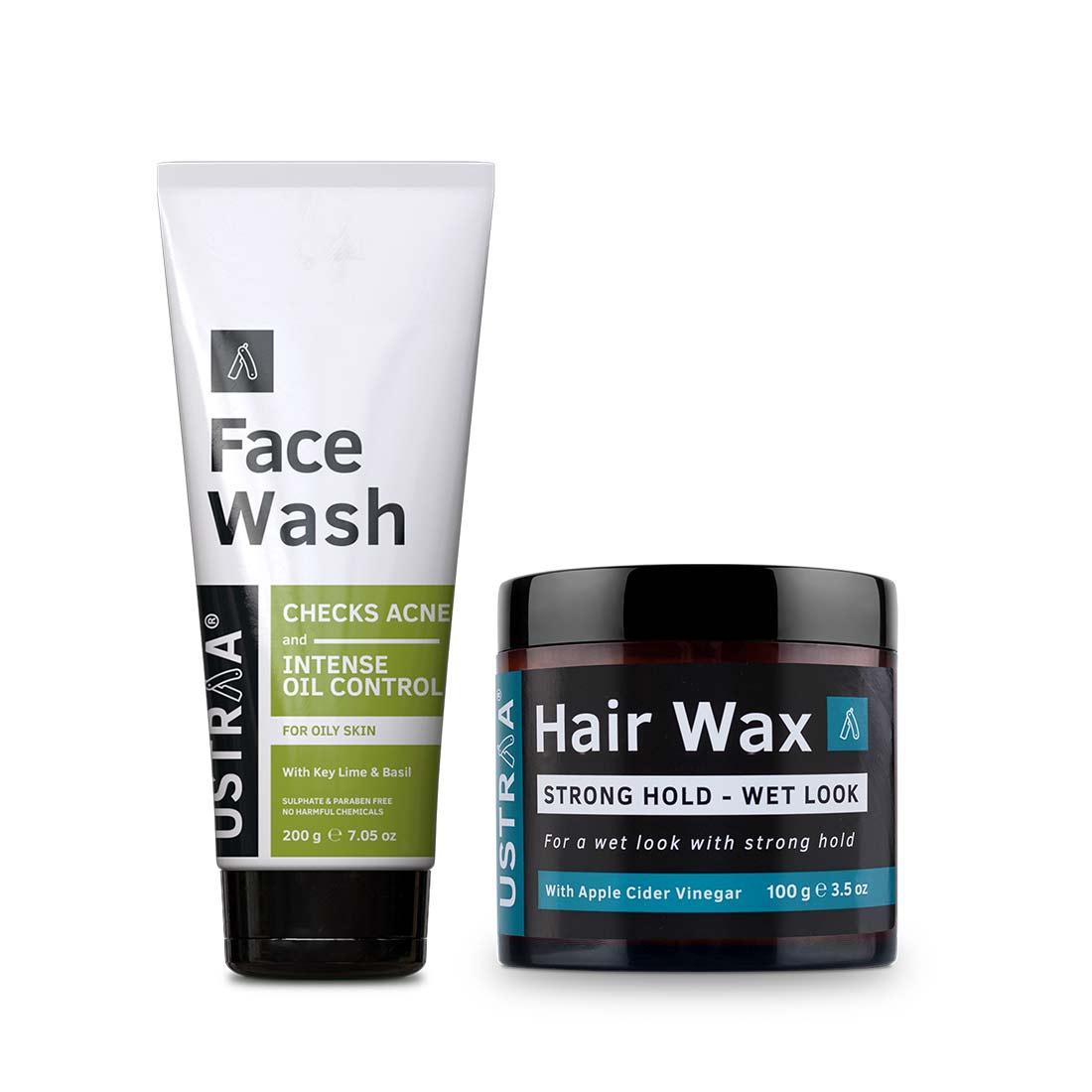 Ustraa | Ustraa Hair Wax Wet look 100 g & Face Wash- Oily Skin 200 g