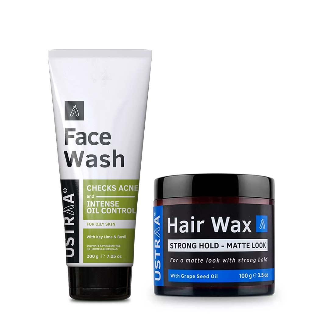 Ustraa | Ustraa Hair Wax Matte look 100 g & Face Wash - Oily Skin 200 g