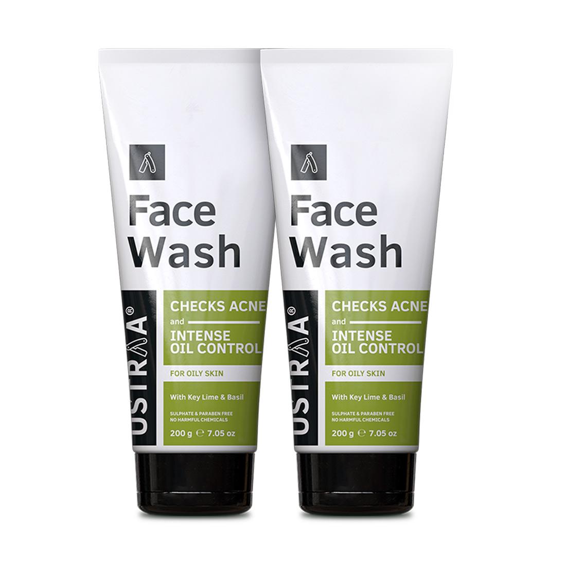 Ustraa | Ustraa Face Wash - Oily Skin (Checks Acne & Oil Control) - 200g Set of 2