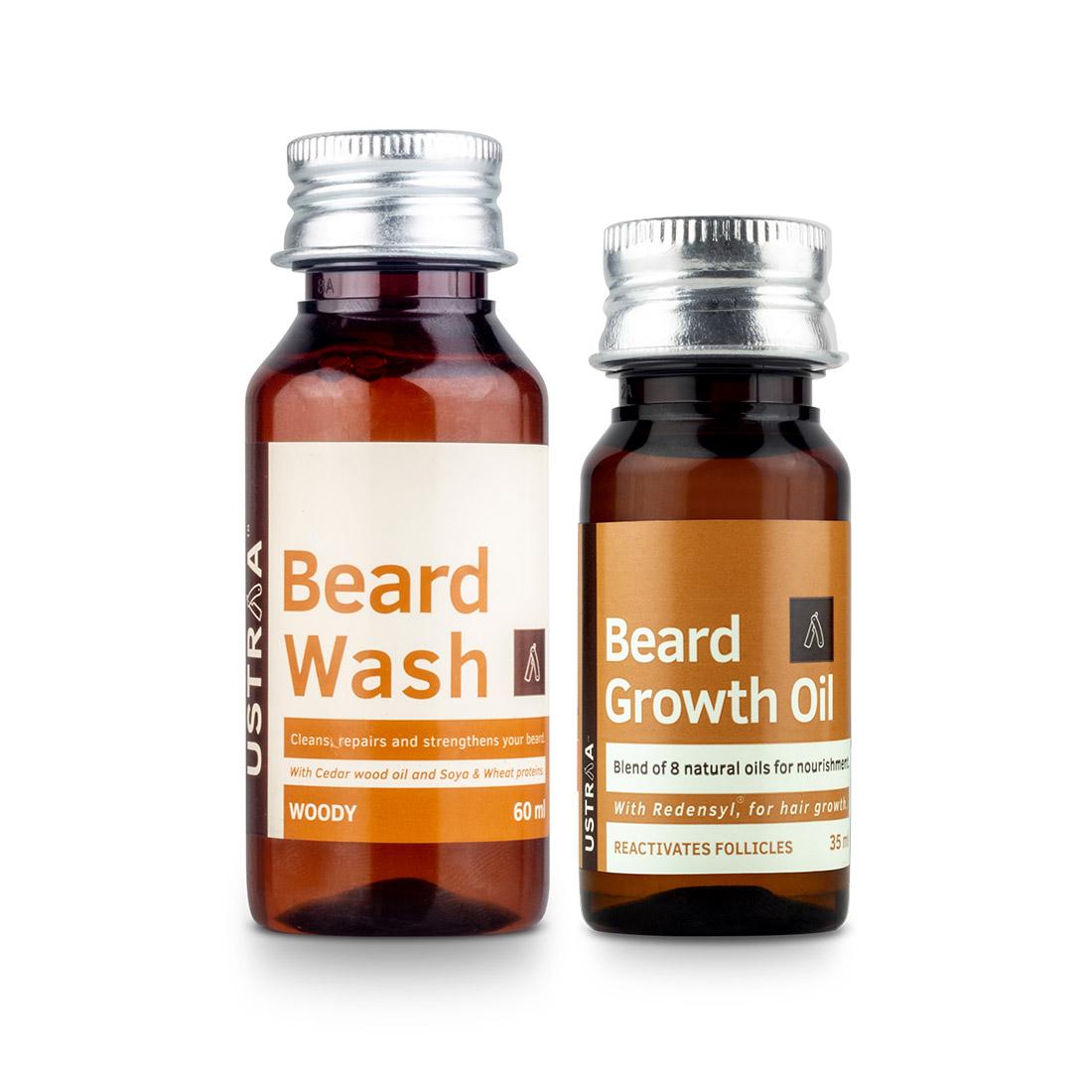 Ustraa | Ustraa Beard Growth Oil - 35ml and Beard Wash Woody - 60ml