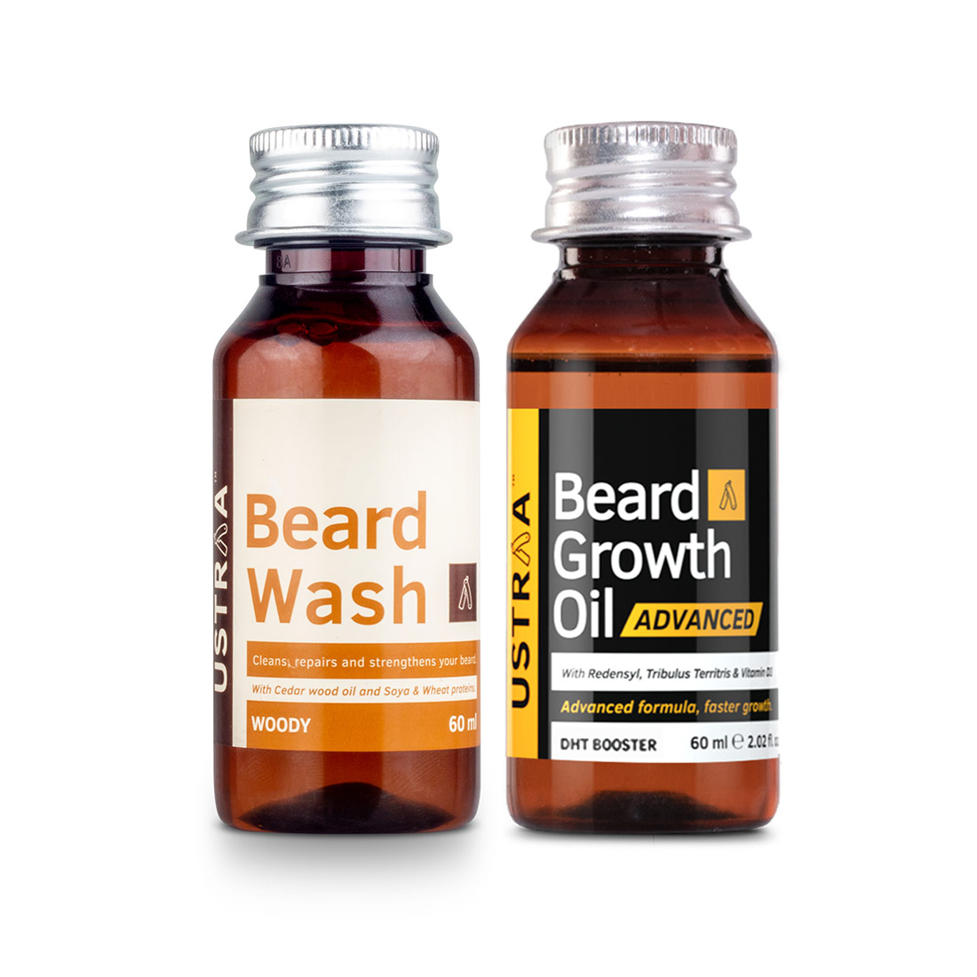 Ustraa | Ustraa Beard Growth Oil Advanced - 60ml and Beard Wash Woody - 60ml