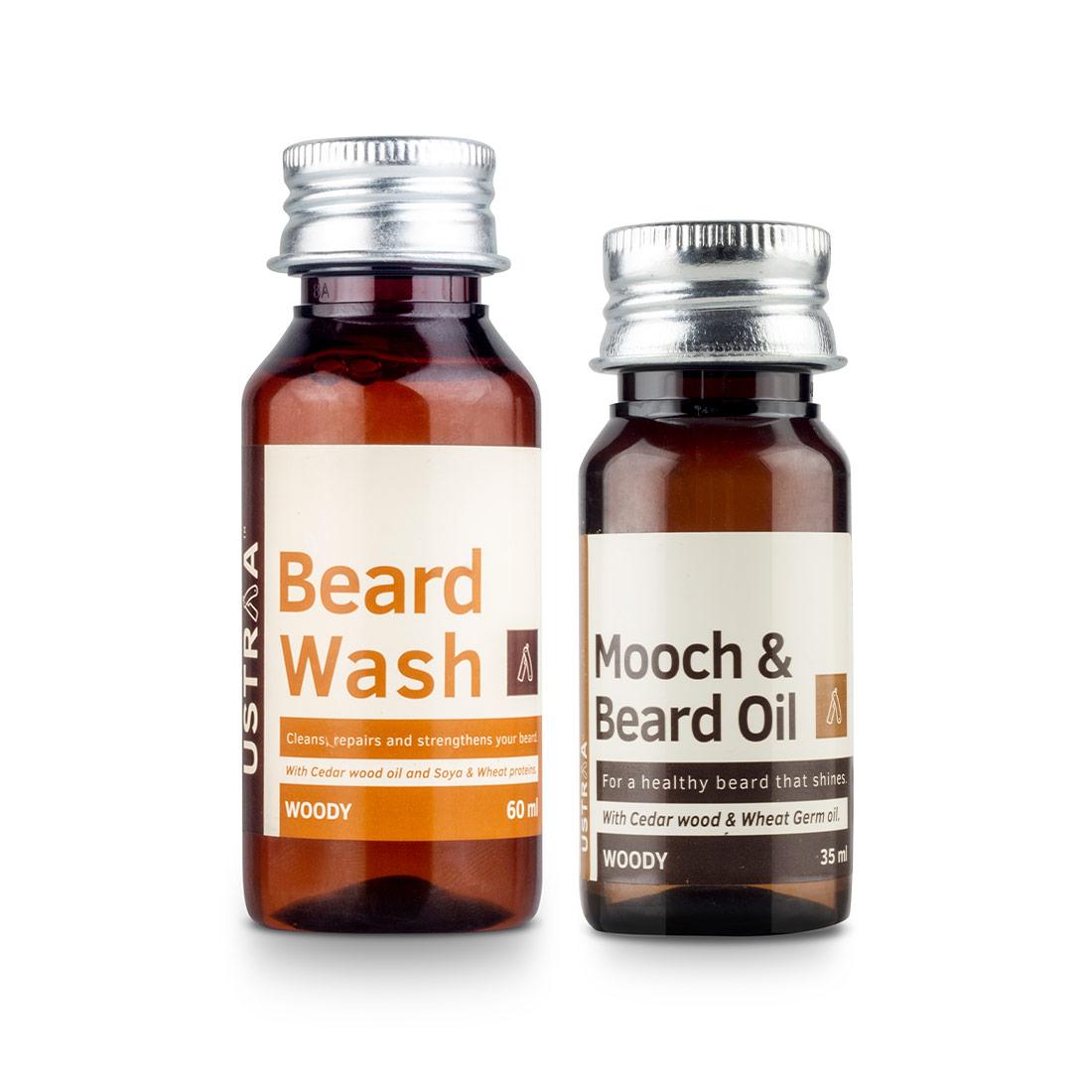 Ustraa | Ustraa Beard Oil Woody - 35ml and Beard Wash Woody - 60ml