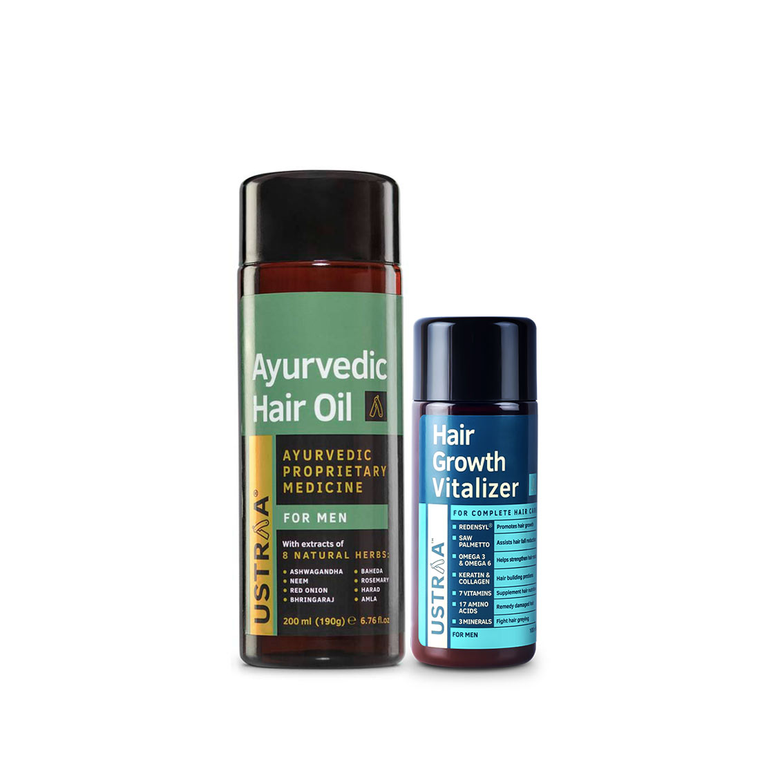 Ustraa | Ustraa Hair Growth Vitalizer - 100 ml & Ayurvedic Hair Oil - 200 ml