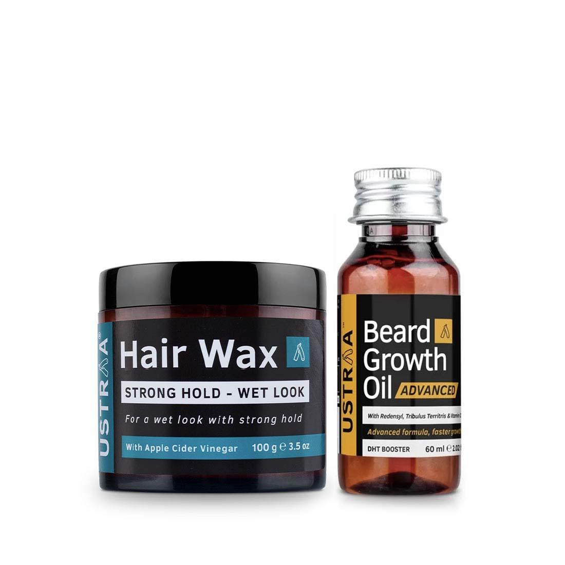 Ustraa | Ustraa Beard Growth Oil Advance 60 ml  & Hair Wax Wet Look 100 g
