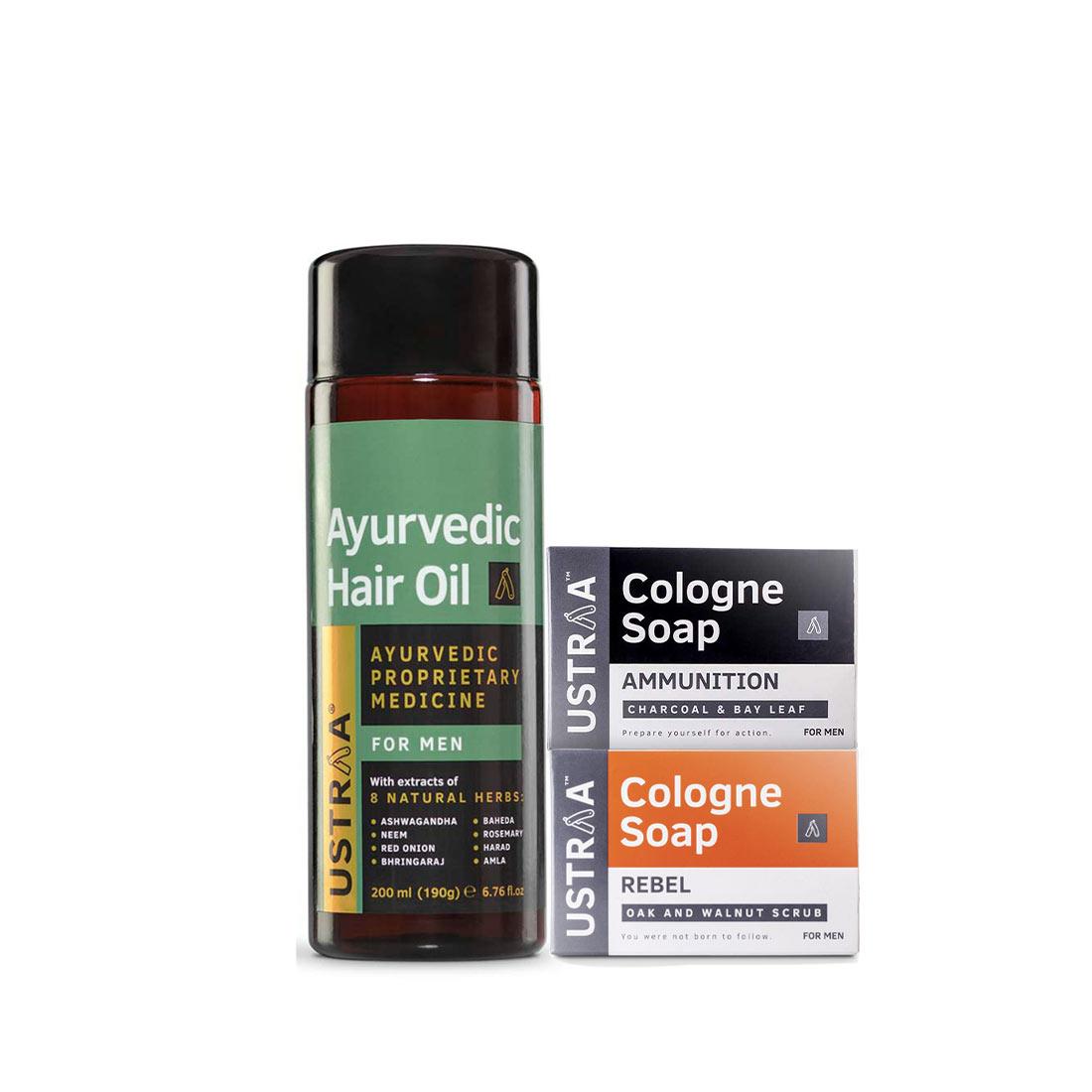 Ustraa | Ustraa Ayurvedic Hair Oil 200 ml & Cologne Soaps (Rebel & Ammunition)