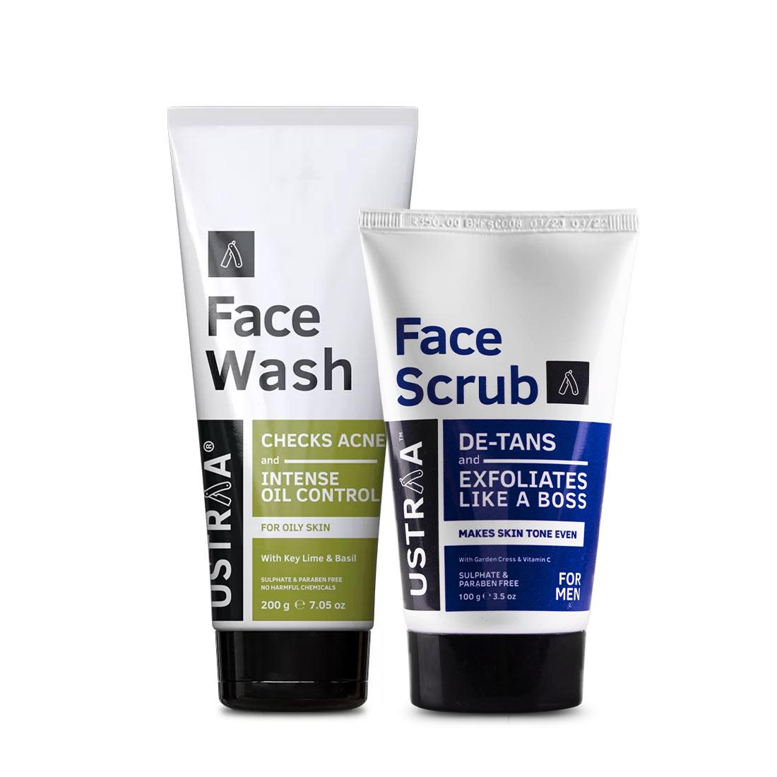 Ustraa | Ustraa Face Wash Oily Skin 200g & De-Tan Face Scrub 100g