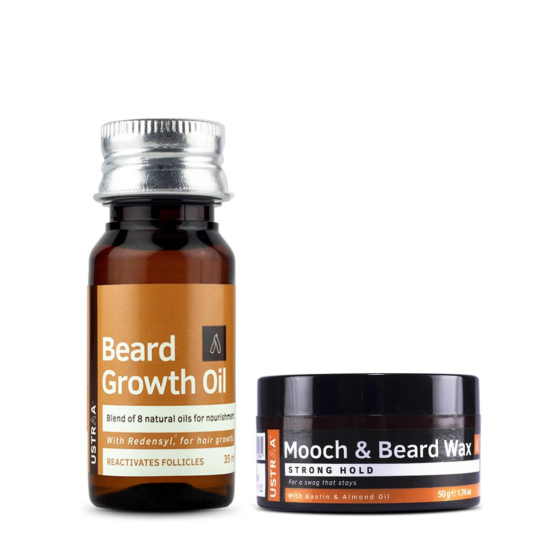 Ustraa | Ustraa Beard Growth Oil35 ml &  Mooch and Beard  Wax 50g