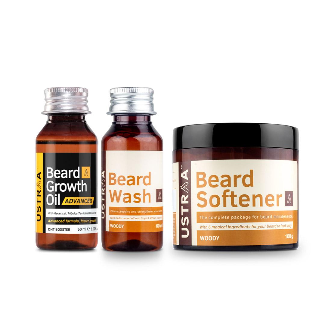 Ustraa | Ustraa Beard Growth Oil Advanced 60 ml, Beard Wash Woody 60ml,  Beard Softener 100 g