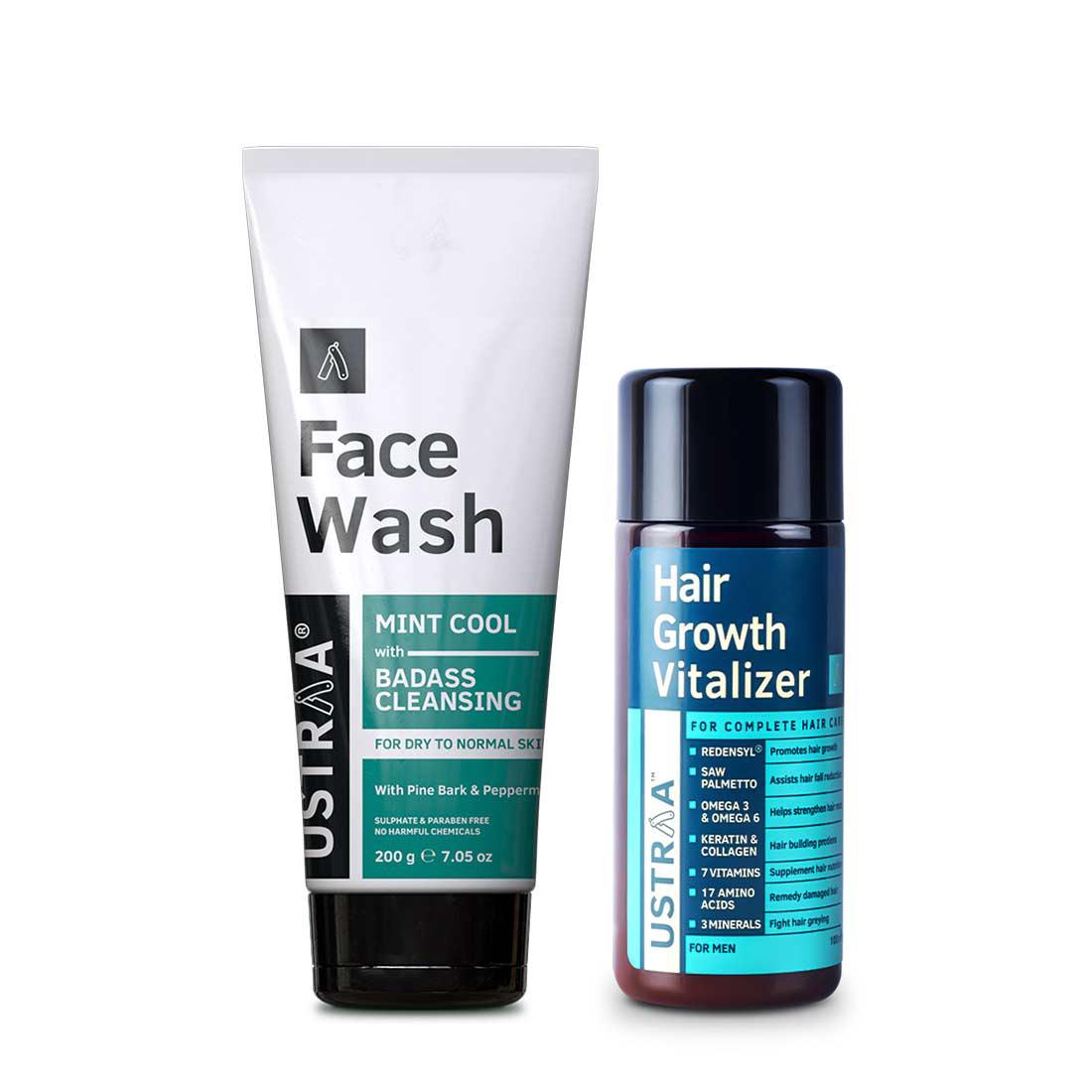 Ustraa | Ustraa Hair Growth Vitalizer 100 ml & Face Wash Dry Skin200g