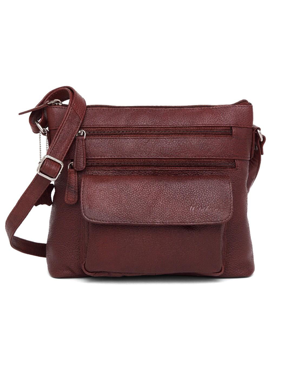 WildHorn   WildHorn Upper Grain Genuine Leather Ladies Cross-body Hand Bag with Adjustable Strap - Maroon