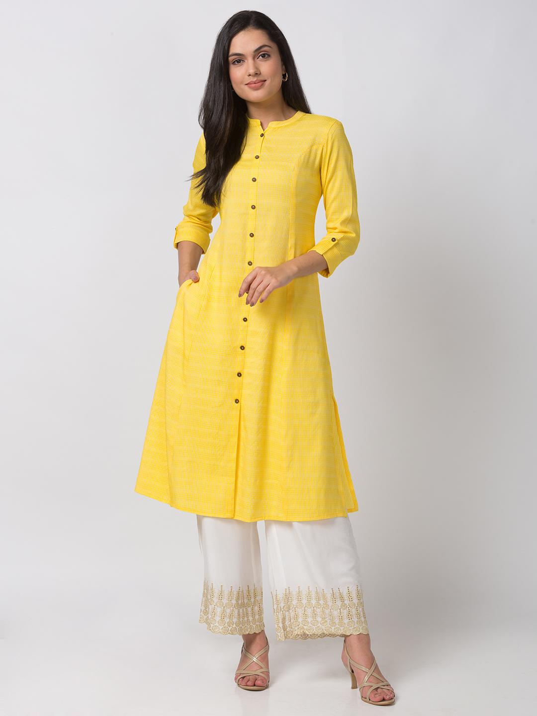 Ethnicity | Ethnicity Modal Straight Women Lemon Yellow Kurta