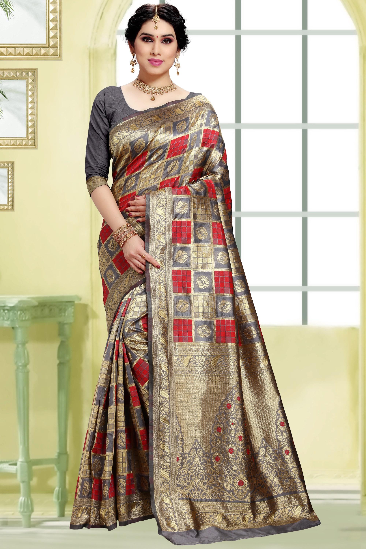 POONAM TEXTILE | Women's Checkered Woven Banarasi Art Silk Saree (Grey)