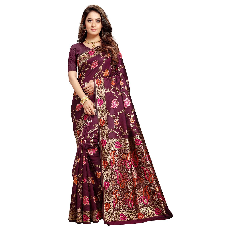 POONAM TEXTILE | Poonam Textile Woven Banarasi Art Silk Saree (Purple)