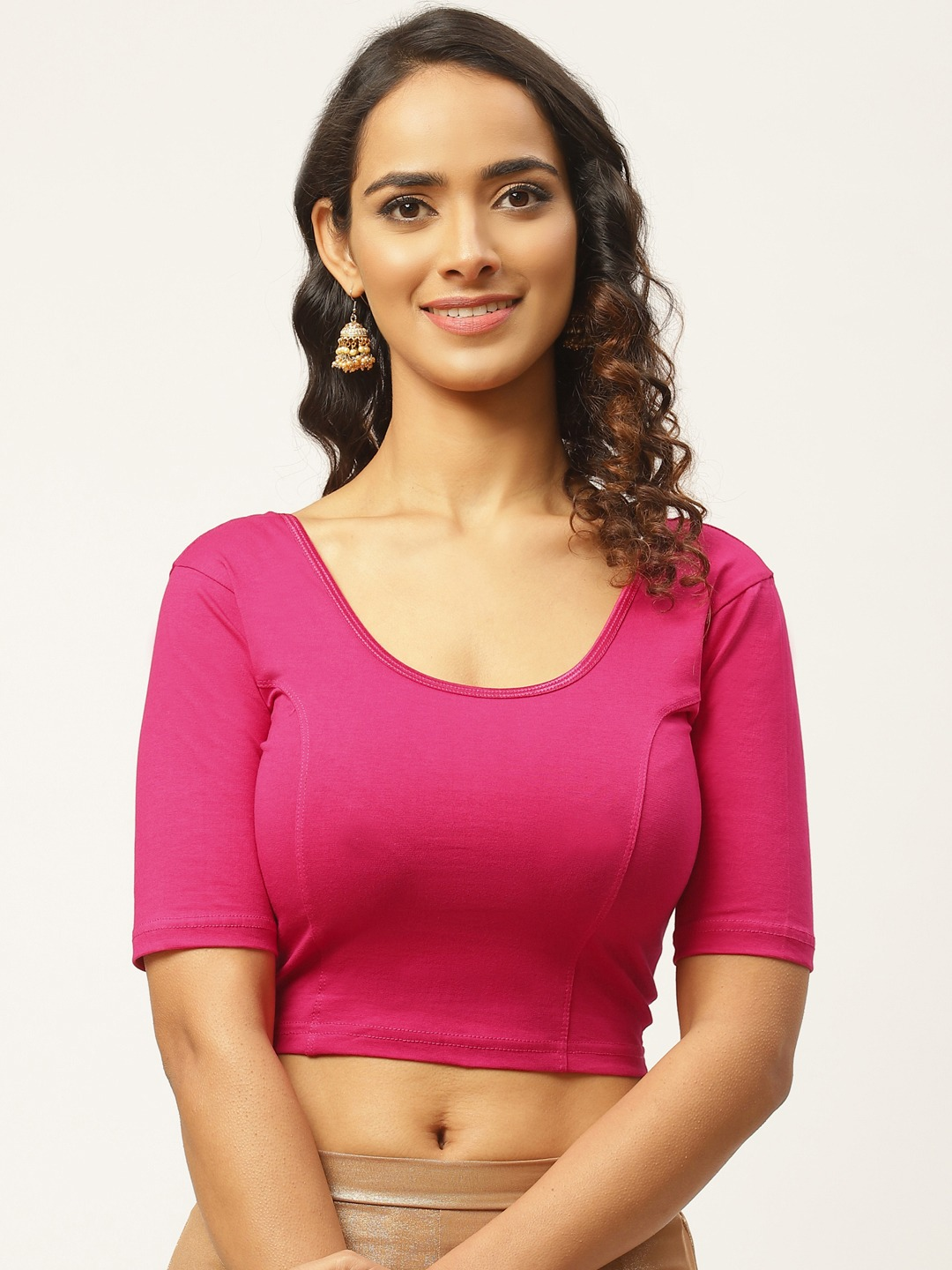 Vastranand   VASTRANAND Women Pink Cotton Solid Stretchable Saree Blouse