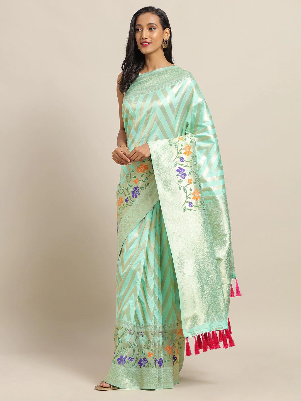 Vastranand | VASTRANAND Sea Green & Gold-Toned Cotton Blend Woven Design Banarasi Saree