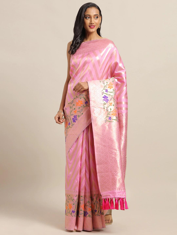 Vastranand | VASTRANAND Pink & Gold-Toned Cotton Blend Woven Design Banarasi Saree
