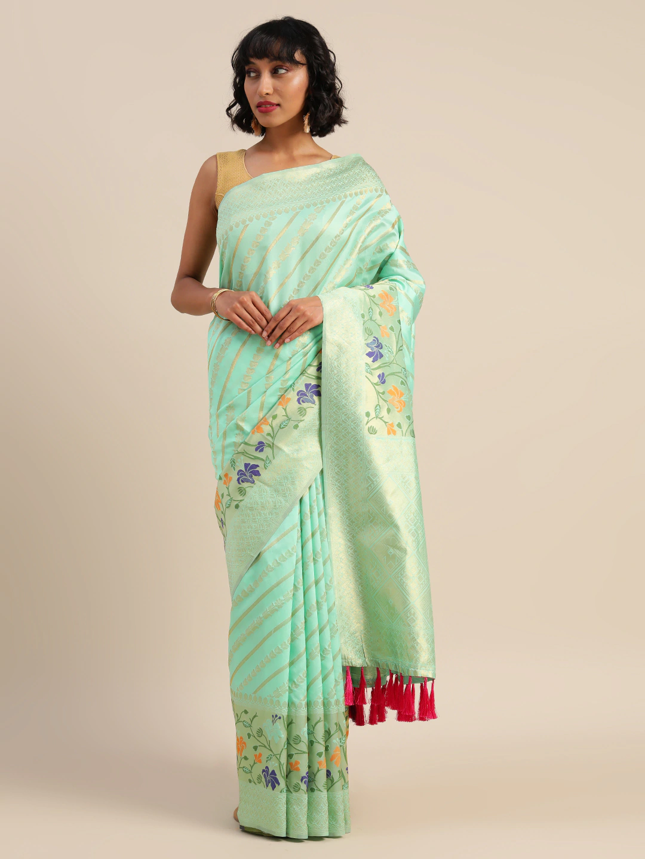Vastranand   VASTRANAND  Sea Green & Beige Cotton Blend Printed Banarasi Saree