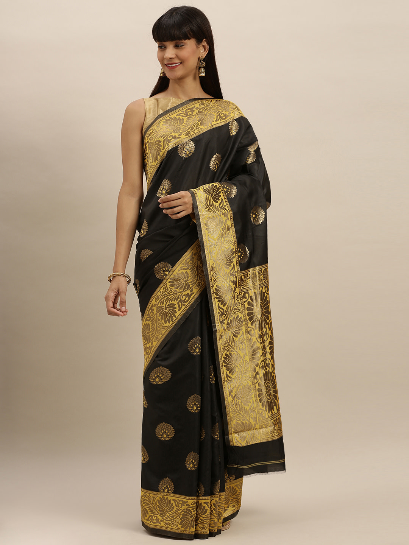 Vastranand | VASTRANAND  Black & Yellow Silk Blend Embroidered Banarasi Saree