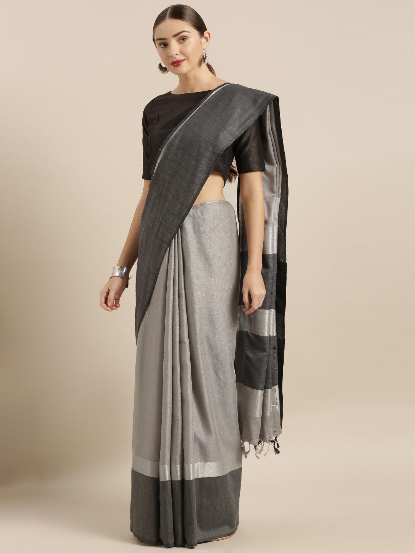 Vastranand | VASTRANAND  Grey & Black Linen Blend Solid Saree