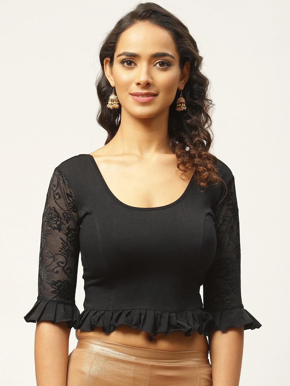 Vastranand   VASTRANAND Women Black Cotton Solid Stretchable Saree Blouse