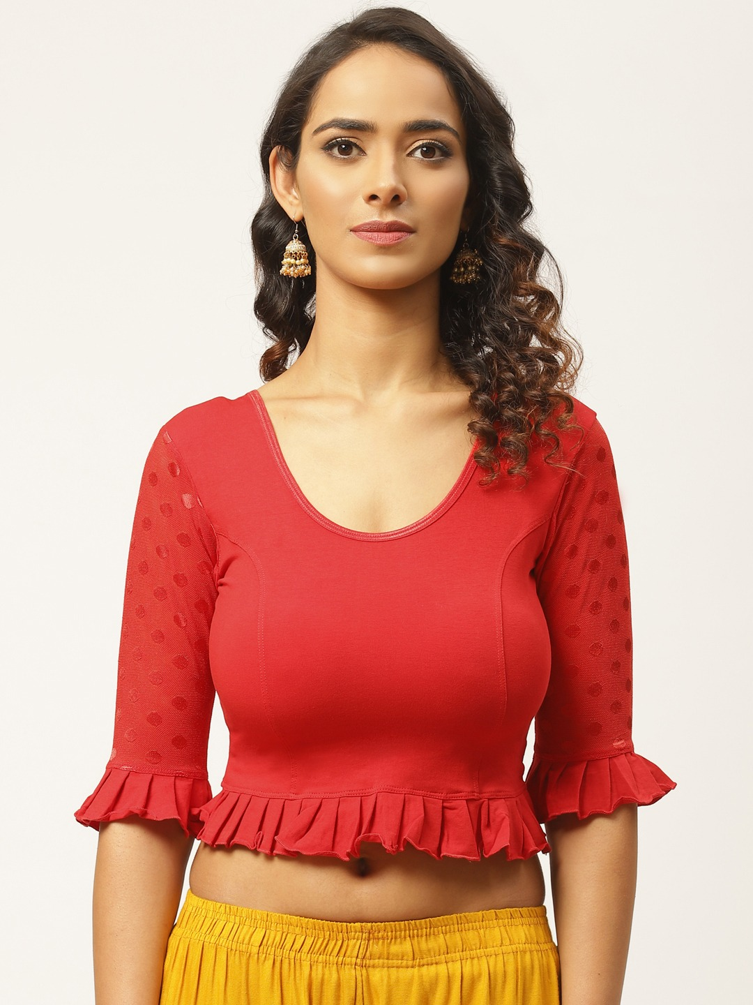 Vastranand | VASTRANAND Women Red Solid Stretchable Saree Blouse