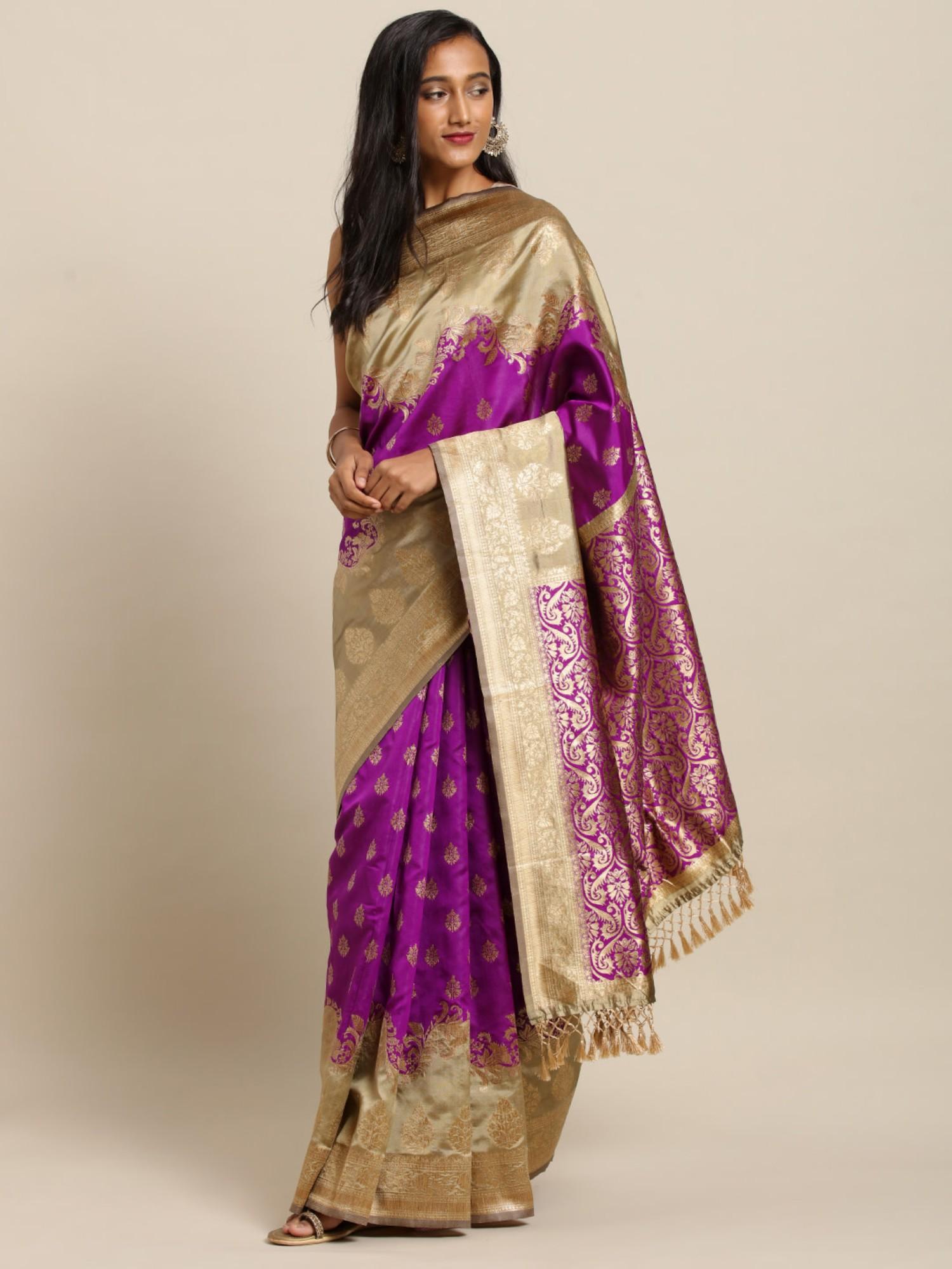 Vastranand   VASTRANAND  Purple & Beige Silk Blend Woven Design Banarasi Saree