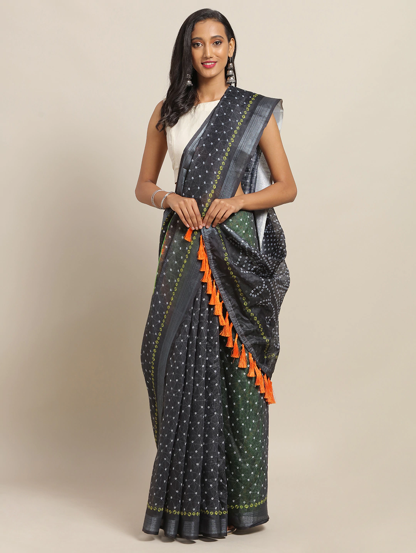 Vastranand | VASTRANAND Black & Green Cotton Blend Printed Bandhani Saree