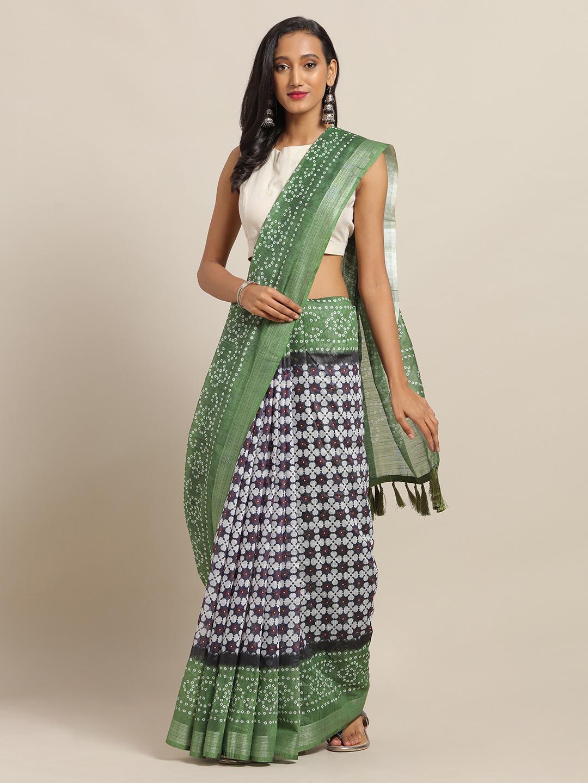 Vastranand | VASTRANAND Navy Blue & Green Cotton Blend Printed Bandhani Saree