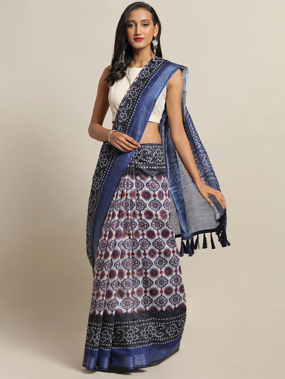Vastranand | VASTRANAND White & Blue Cotton Blend Printed Bandhani Saree