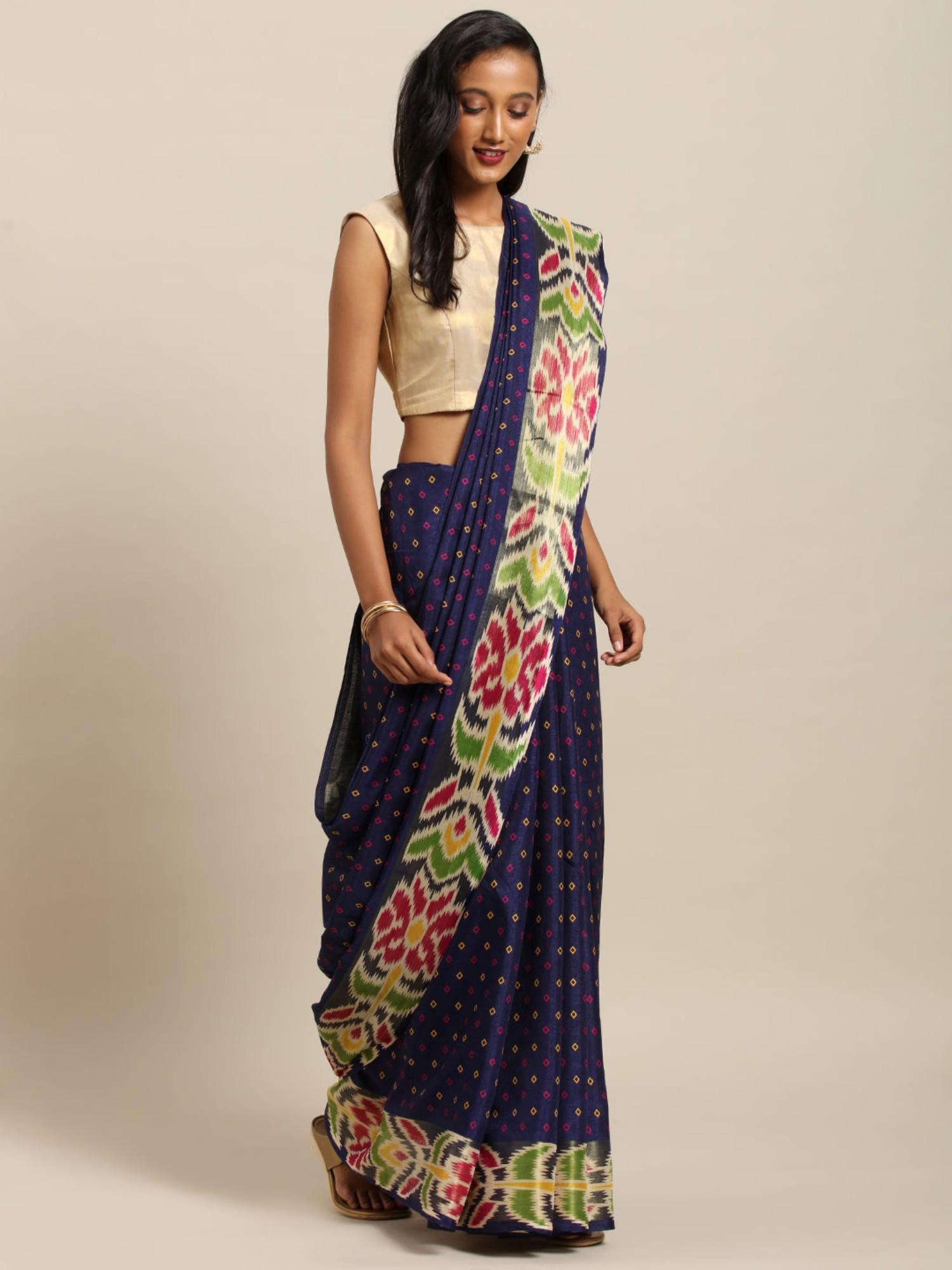 Vastranand | VASTRANAND  Navy Blue & Yellow Linen Blend Printed Others Saree