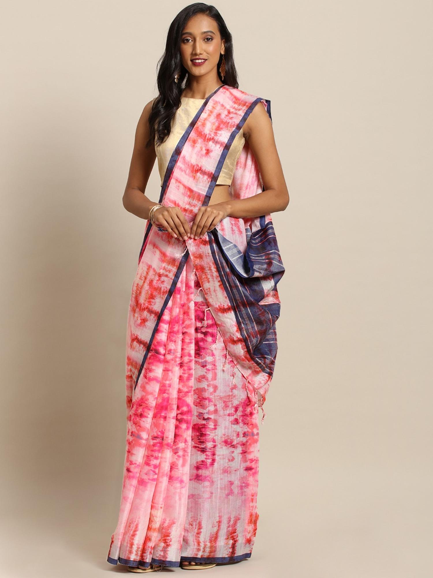Vastranand   VASTRANAND  Pink & White Linen Blend Dyed Ikat Saree