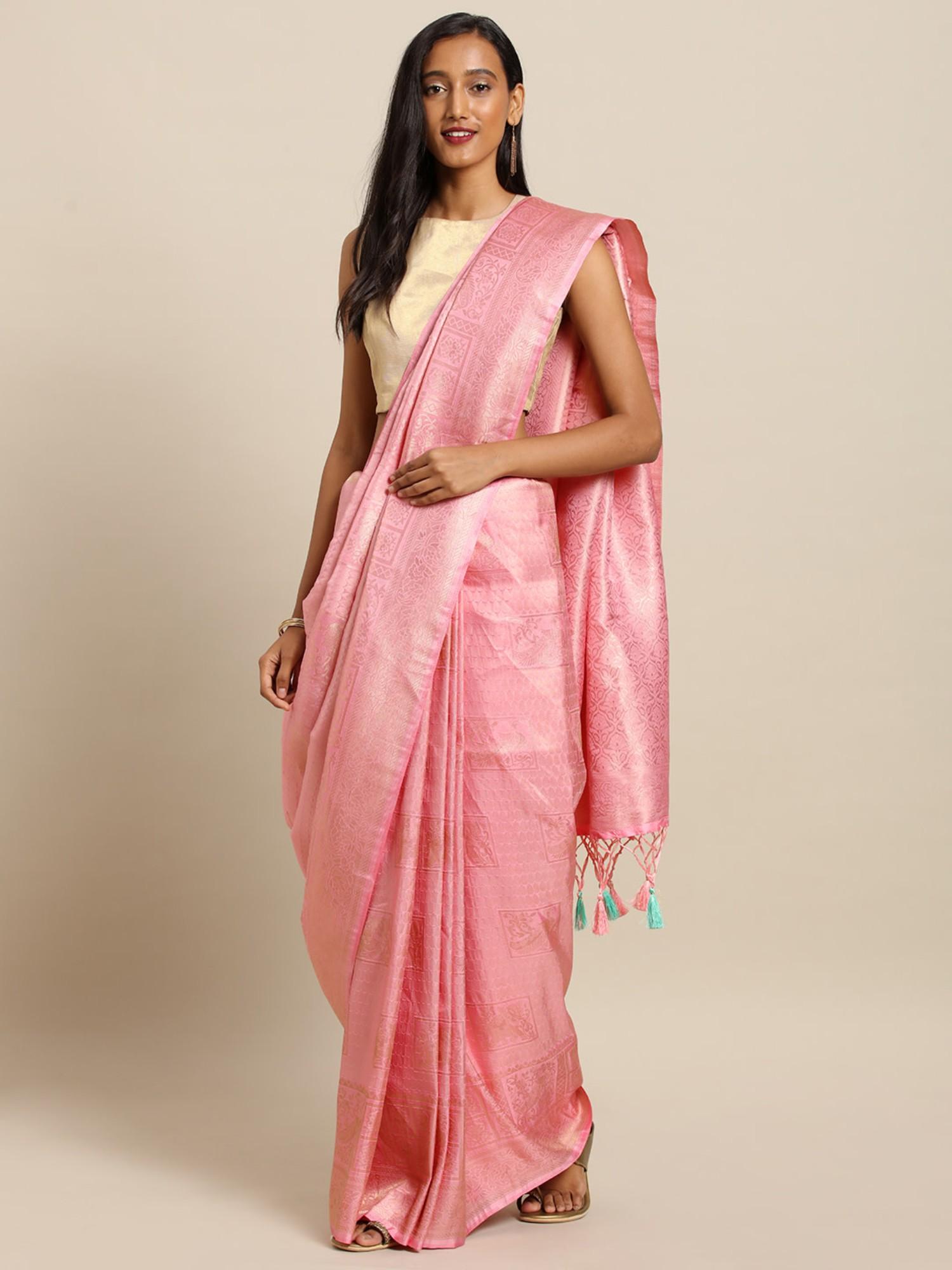 Vastranand | VASTRANAND  Pink Silk Blend Woven Design Baluchari Saree
