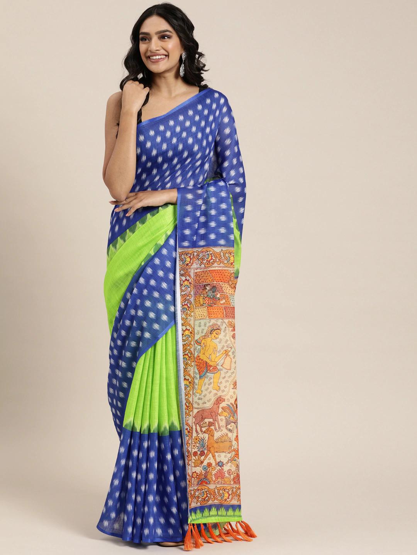 Vastranand | VASTRANAND  Fluorescent Green & Blue Linen Blend Printed Ikat Saree