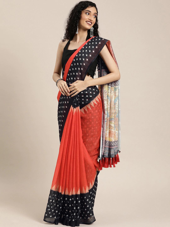 Vastranand | VASTRANAND  Orange & Black Linen Blend Printed Ikat Saree