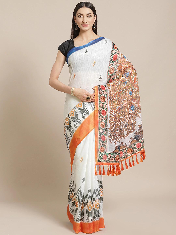 Vastranand | VASTRANAND  White & Orange Floral Printed Ikat Designer Saree