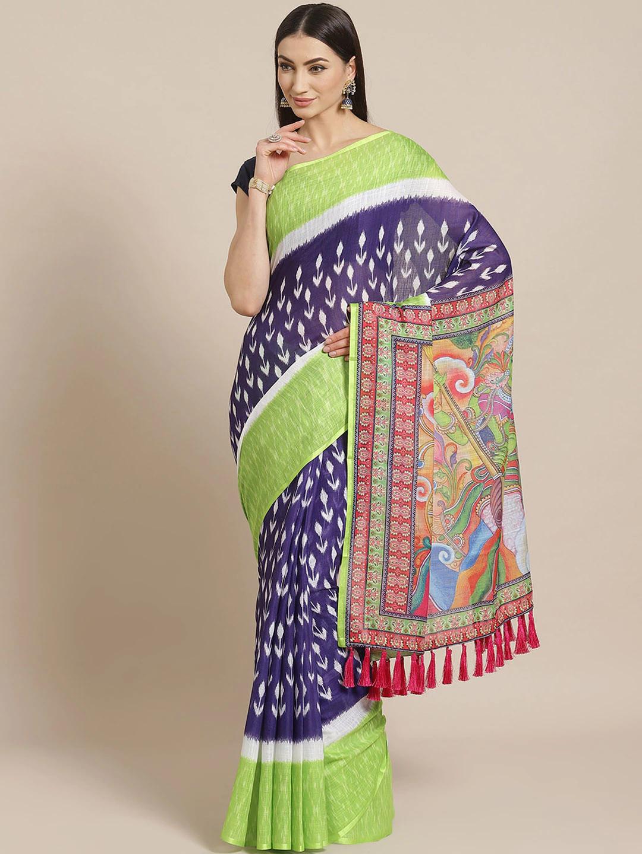 Vastranand   VASTRANAND  Purple & Green Floral Printed Ikat Designer Saree