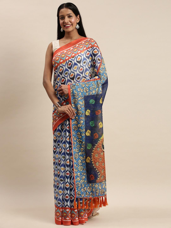 Vastranand | VASTRANAND White & Blue Linen Blend Blend Printed Ikat Saree