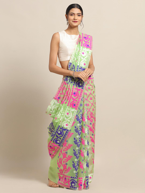 Vastranand | VASTRANAND Pista Coloured Trendy Dhakai Jamdani Cotton Silk Saree