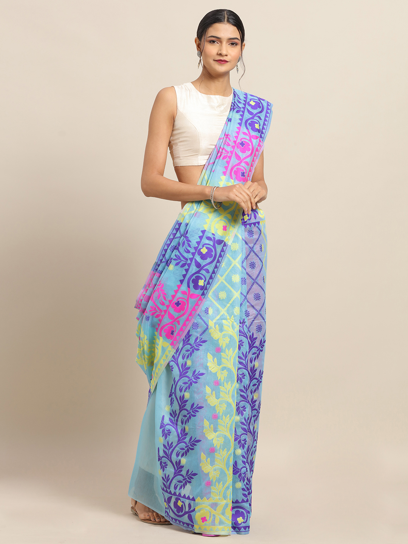 Vastranand | VASTRANAND Sky Coloured Trendy Dhakai Jamdani Cotton Silk Saree