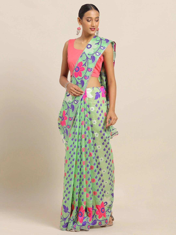 Vastranand | VASTRANAND Sea Green & Purple Silk Blend Woven Design Jamdani Saree