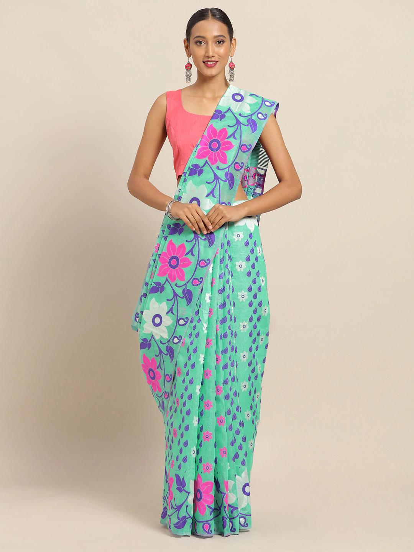 Vastranand | VASTRANAND Sea Green & Purple Cotton Blend Woven Design Jamdani Saree